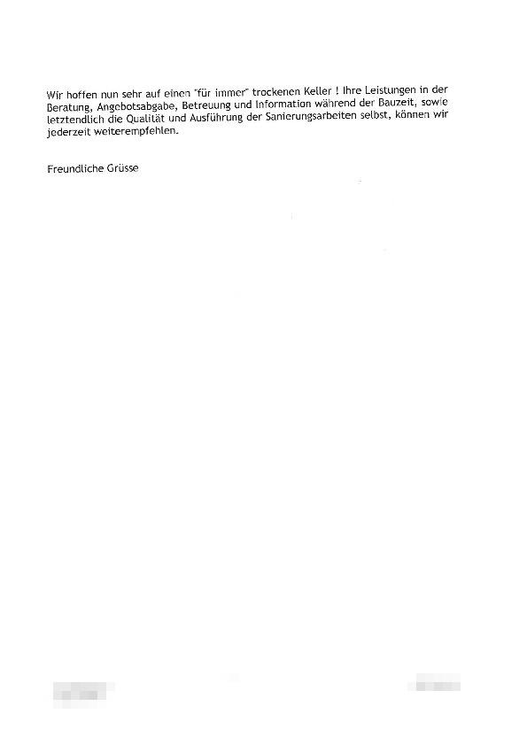 Kundenzuschriften Isotec Abdichtungstechnik Klein Gmbh Meerbusch